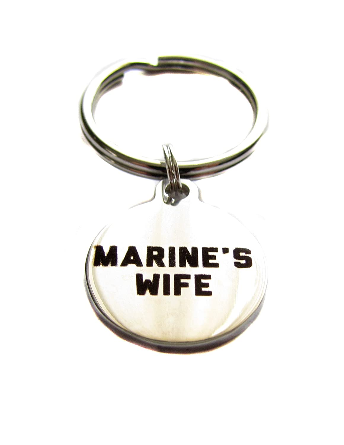 "Stainless Steel ""Marine's Wife"" Charm Keychain, Bag Charm, Military Wife Gift"