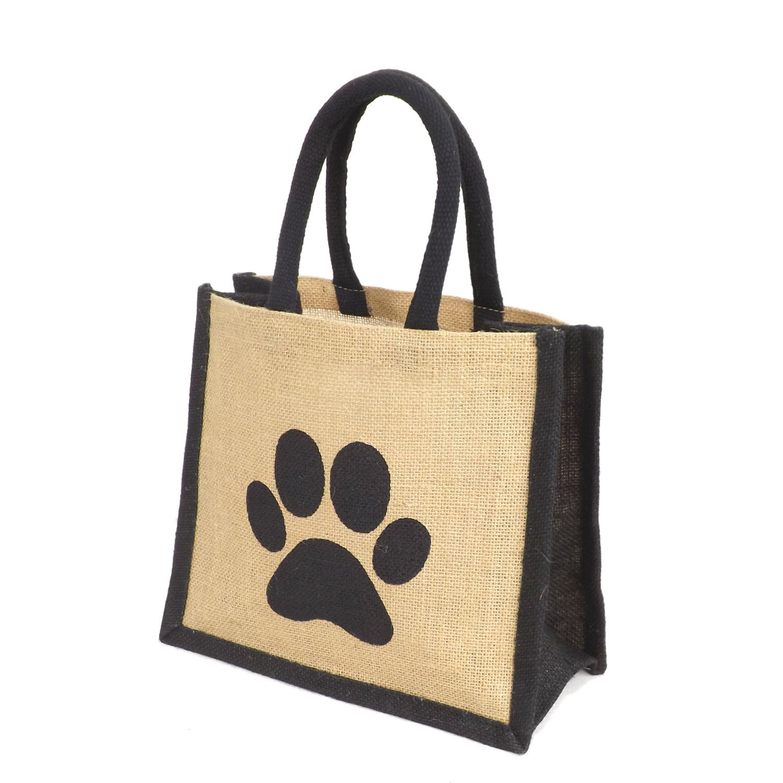 Jute Black Trim Lunch Gift Bag - Printed Dog Paw Motif Yellowboots