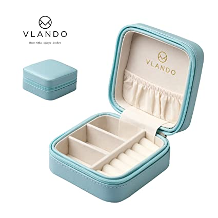 Good Vlando Macaron Small Jewelry Box, Travel Storage Case For Rings And  Earrings Blue