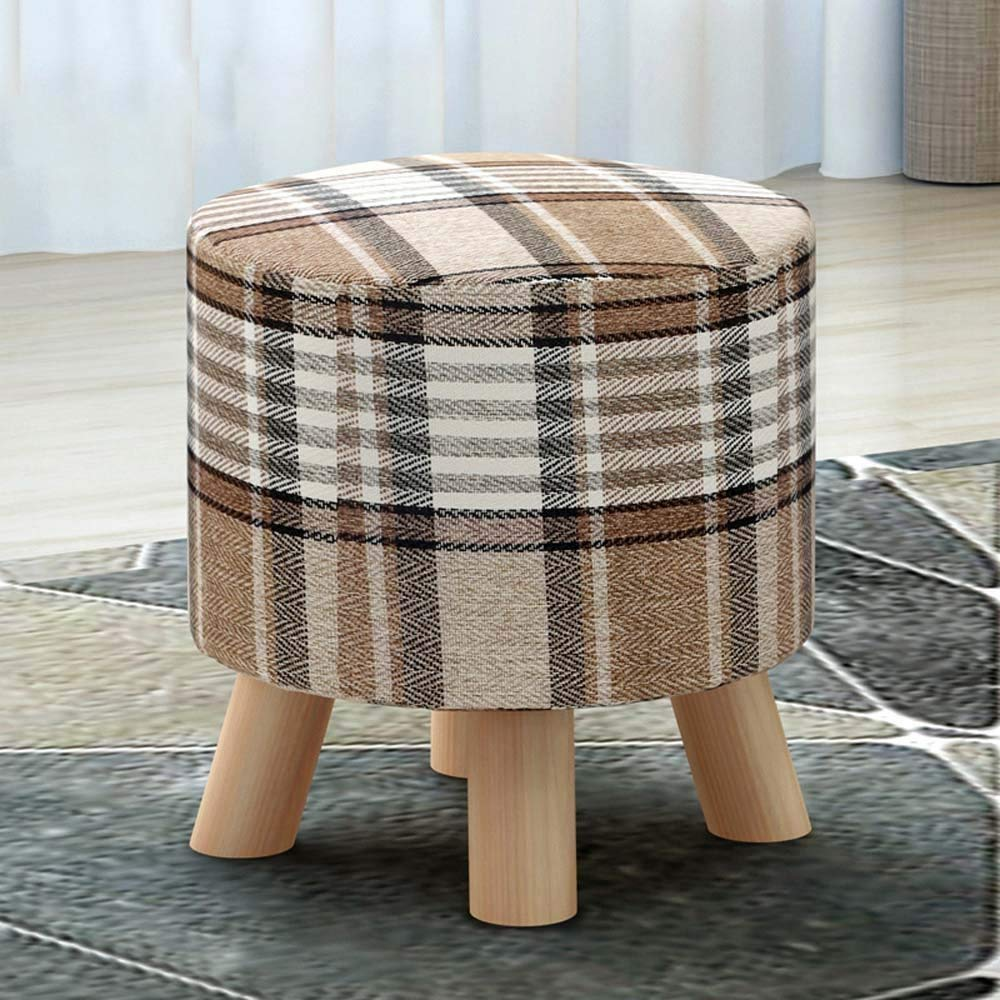 QTQZ Brisk- Stool Round Stool Solid Wood Fashion Square Stool Home Coffee Table Stool Fabric Sofa Stool (A Variety of Styles Optional) (Color: A)
