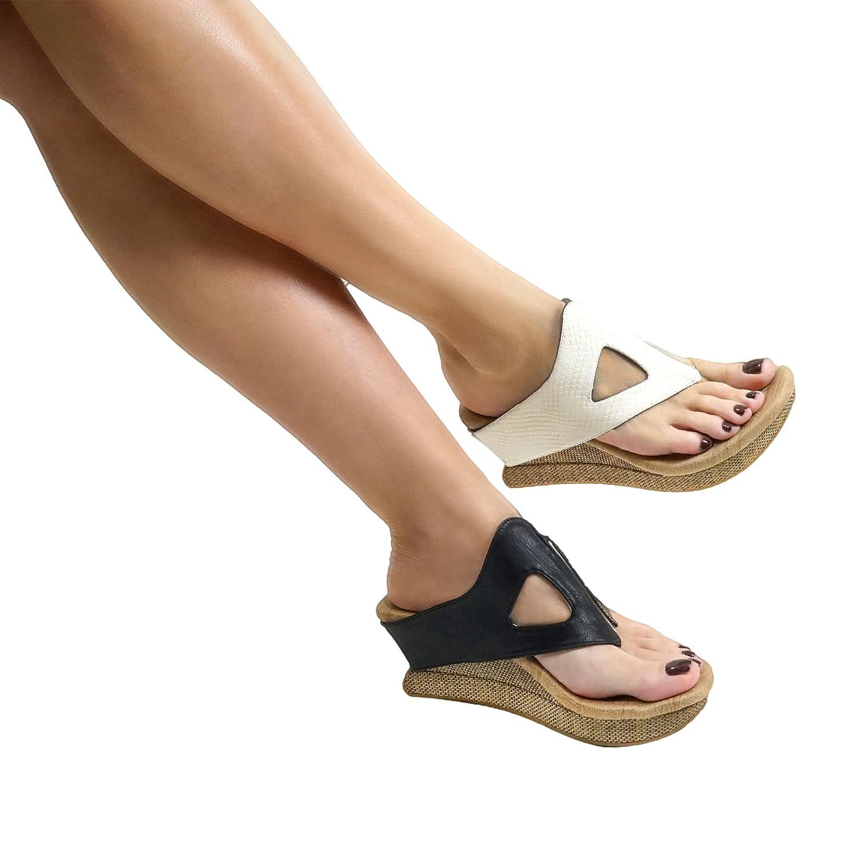 Modzori Sunna Women's Mid Wedge Reversible Sandal B07B5SRGF3 8 B(M) US|Off-white-pewter/Gold-black