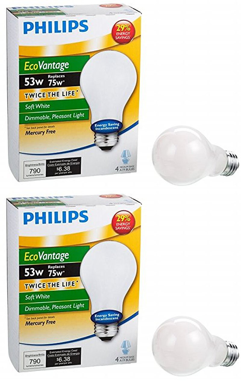 Philips Halogen Lighting 433524 A19 53 Watt Soft White EcoVantage Dimmable Bulb 8 Bulbs