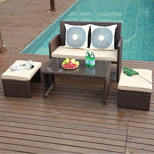 OC Orange-Casual 4 Piece Patio Wicker Furniture Set with Coffee Table and Ottomans, Beige Cushions Brown Rattan, for Garden, Lawn, Backyard