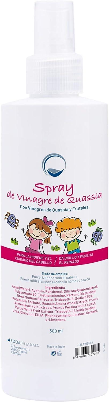 Acondicionador en Spray Preventivo Antipiojos con Vinagre de Quassia y Frutal 300 ml - Impide que los piojos se adhieran al pelo - Desenreda y da Brillo - Apto Cuero Cabelludo Sensible - Farmacéutico