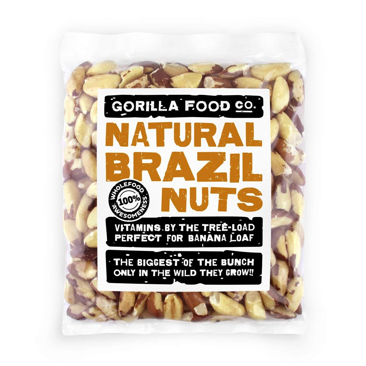 Premium Brazil Nuts Raw Whole - 8oz Resealable Bag by Gorilla Food Co
