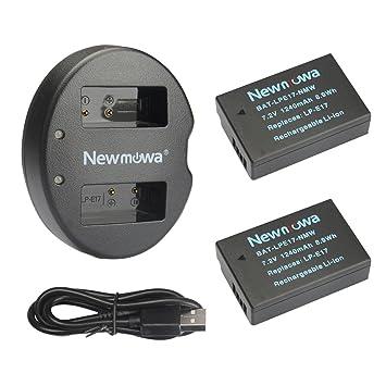Newmowa LP-E17 Batería de Repuesto (2-Pack) y Kit de Cargador Doble para Micro USB portátil para Canon EOS M3 M5 M6 200D 250D 750D 760D 800D Rebel SL3 ...