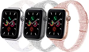 TSAAGAN Glitter Slim Silicone Band Compatible with Apple Watch 38mm 42mm 40mm 44mm, Sparkly Thin Replacement Wristband for iWatch Series 5/4/3/2/1 (Glitter Colorful/Black/Light Coffee, 38mm/40mm)