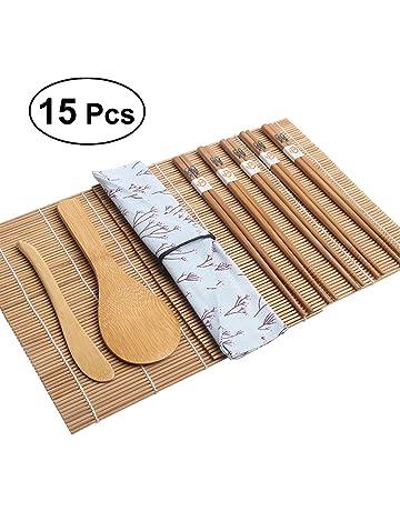 BESTOMZ Kit de sushi de bambú de 15 piezas - Incluye 2 cintas de sushi 1