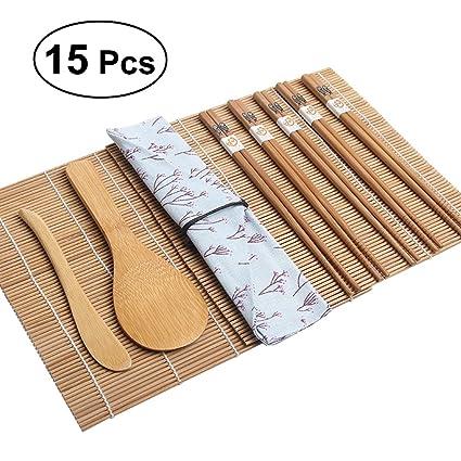 ROSENICE Wood and Cotton Bamboo Sushi Making Kit Pack of 15