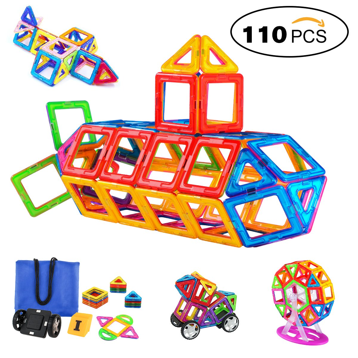Magnetic Blocks 110 PCS, Magnetic Building Blocks Set Magnet Tiles Educational Toys for Kids/Toddlers/Children Review