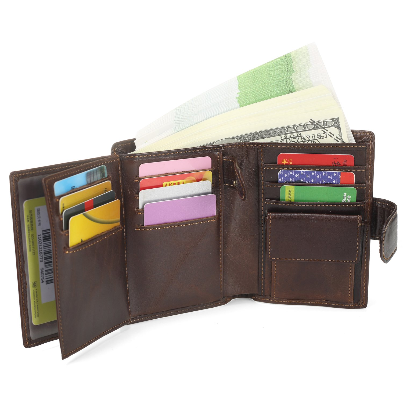 Men's Leather Wallet RFID Blocking Credit Card Holder ID Window Tri-Fold Wallet (Brown)