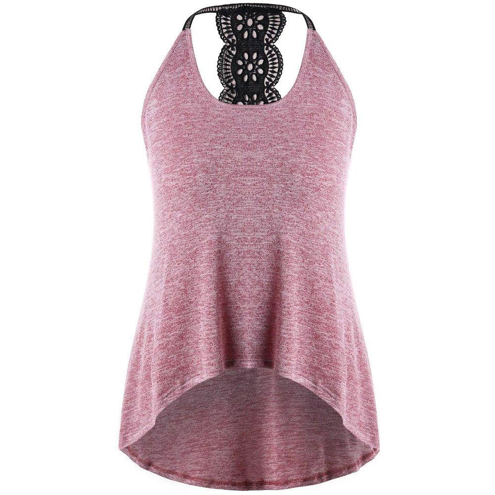 VANSOON Women Tank Tops Casual Plus Size Print T-Shirt Blouse Crop Tops Summer Sleeveless Sexy Vest for Teen Girl Pink