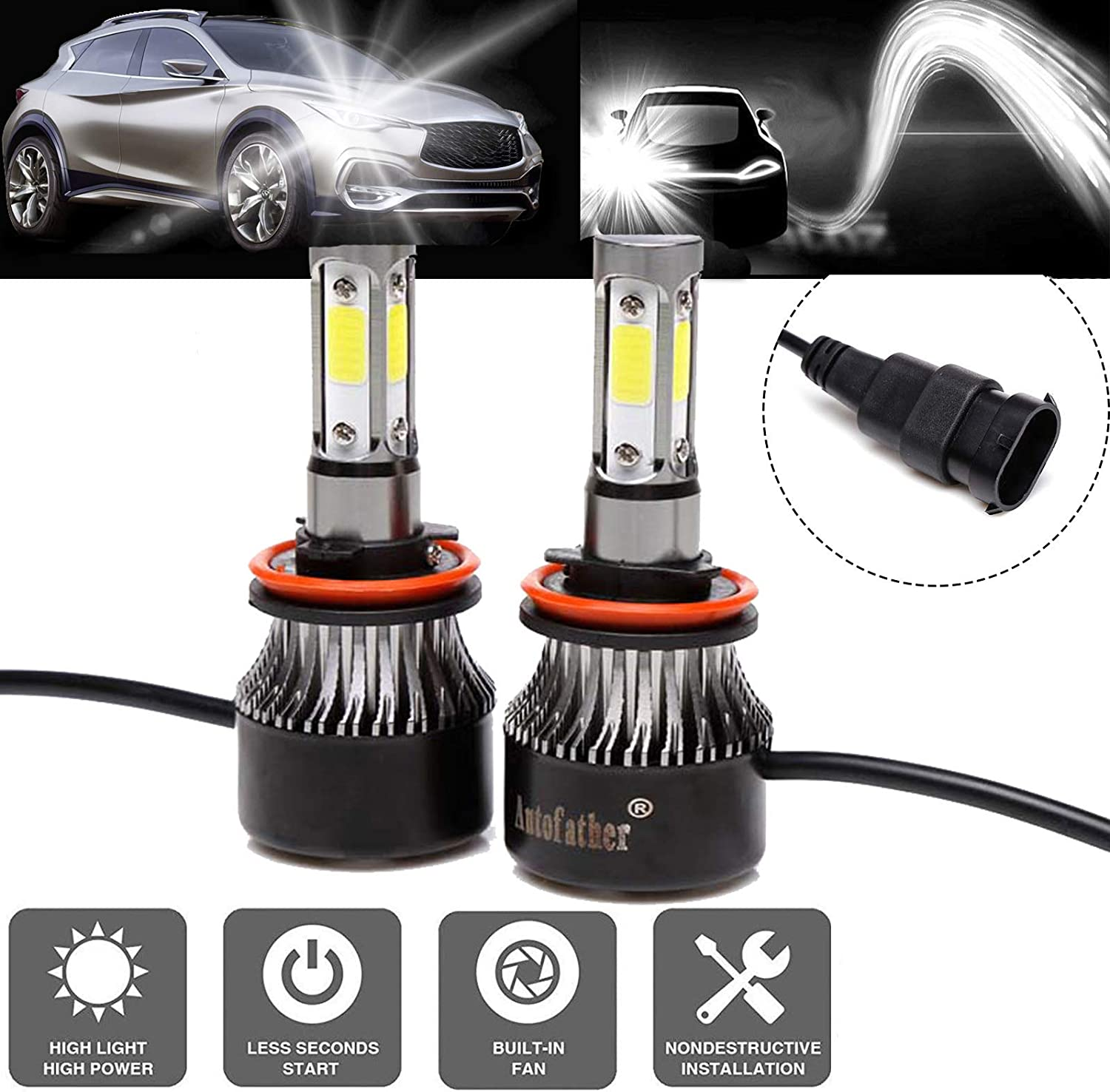 COLIGHT LED Headlight Bulbs H11//H8//H9 Conversion Replacements Yellow Amber 3000K White 6000K Dual Color Temperature 72W 12000lumens Hi//Lo Beam DRL Waterproof ZES Chips Fog Lights H11-F2D-SS