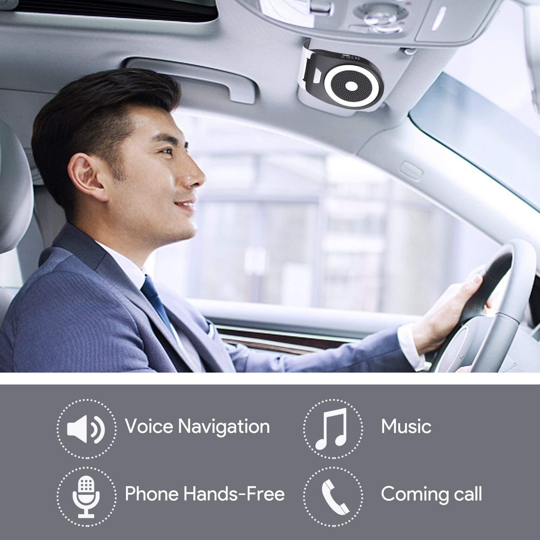 admite Llamadas//GPS//m/úsic Auto Power ON con Sensor de Movimiento Integrado y aconectar Dos tel/éfonos Aigoss Manos Libres Bluetooth 4.1 Coche Kit Altavoz Inal/ámbrico para Tel/éfonos M/óviles