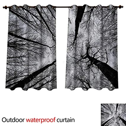 amazon com cobedecor forest outdoor curtain for patio dark winter