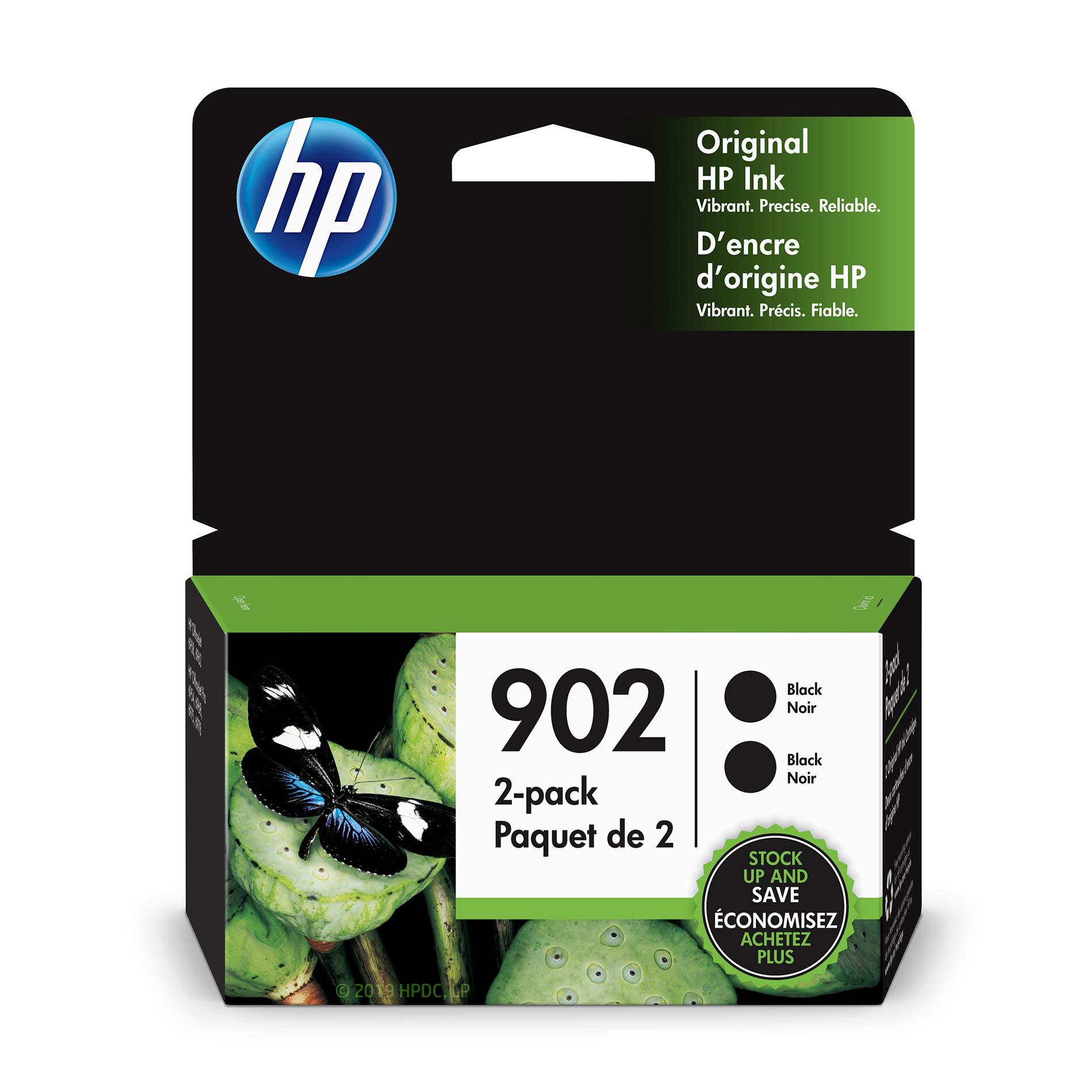 HP 902 Black Ink Cartridge (T6L98AN), 2 Cartridges (3YN96AN)