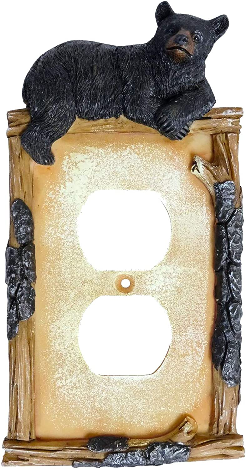 Black Bear on Log Double Outlet Receptacle Cover Cabin Lodge Style Home Décor