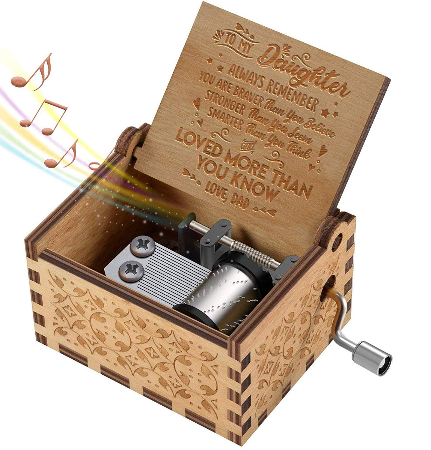 Hand Crank Music Box for Daughter Gifts from Dad, Play The Tune You are My Sunshine Unique Gifts for Daughter Vintage Engraving Wooden Music Box