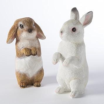 Lot de 2 lapins figurine déco jardin en résine à poser ou suspendre ...