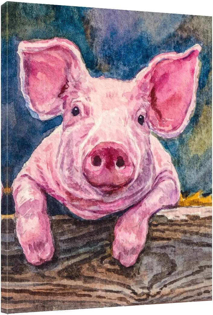 "Canvas Prints Wall Art - Pig Farmhouse Decor Animal Canvas Wall Art Wall Pictures- Modern Wall Decor for Home Farmhouse Wall Decoration -12""x16"""
