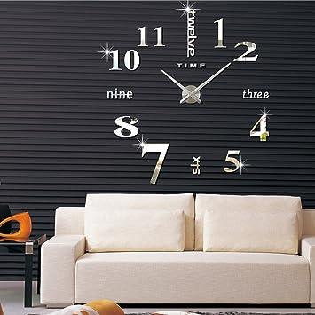 FAS1 Moderno DIY Reloj De Pared Grande Big Reloj Adhesivo 3D Pegatinas Decorativas Efecto De Espejo Acrílico Reloj De Pared Home Office Decoración Extraíble ...