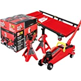 BIG RED T82040 Torin Hydraulic Trolley Floor Service/Floor Combo with 2 Jack Stands and Rolling Garage/Shop Creeper, 2…