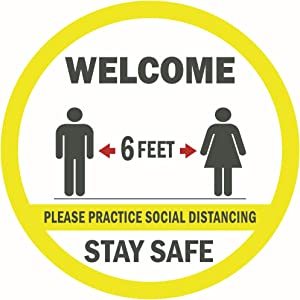 "CLEVER SIGNS Social Distancing Floor Decals, 7.5"" Round, 10 Decals Per Pack, Social Distancing Sign, Welcome Practice Social Distancing, Stand Here Floor Sticker, Social Distancing Floor Stickers"
