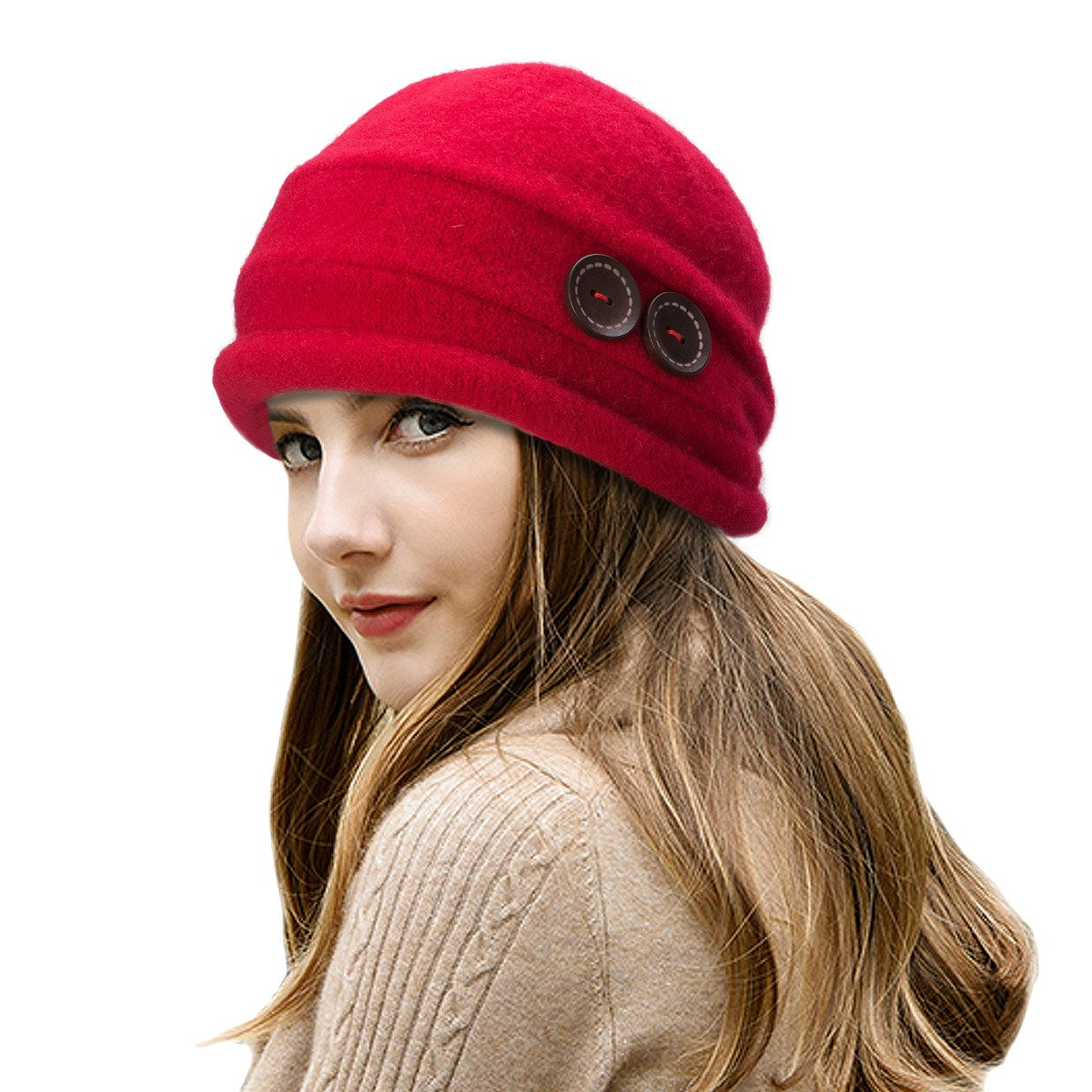 Lawliet New Womens 100% Wool Slouchy Wrinkle Button Winter Bucket Cloche Hat T178 T178wine