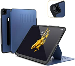 ZUGU CASE (New Model) Alpha Case for 2020 iPad Pro 12.9 inch - Ultra Slim Protective Case - Wireless Apple Pencil Charging - Convenient Magnetic Stand & Sleep/Wake Cover (Navy Blue)