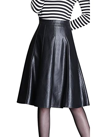 5d1fd3157efb Tanming Women s High Waist A-Line Faux Leather Midi Skirt at Amazon ...
