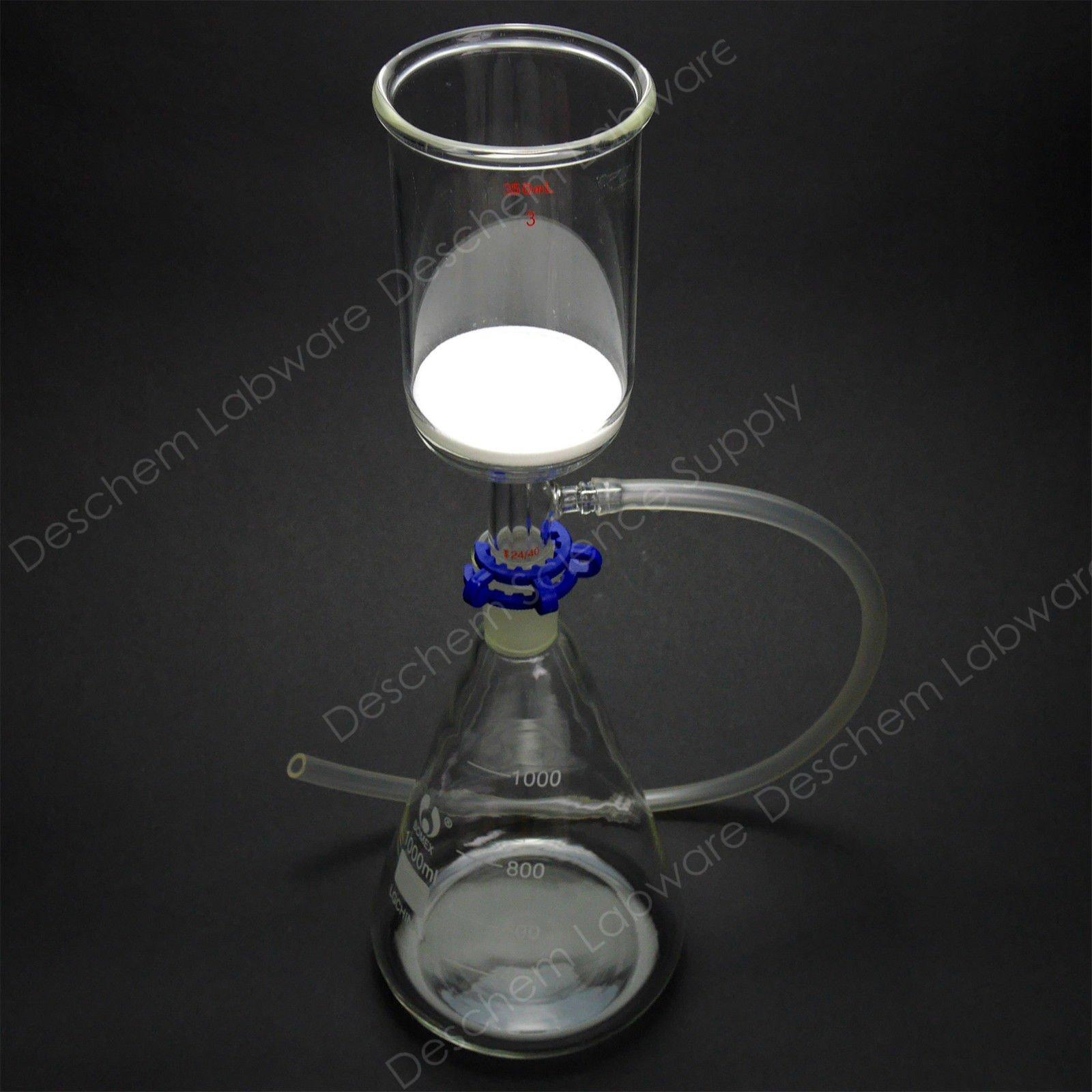 Deschem 1000ml,Glass Suction Filter Kit,350ml 24/40 Buchner Funnel & 1L Erlenmeyer Flask