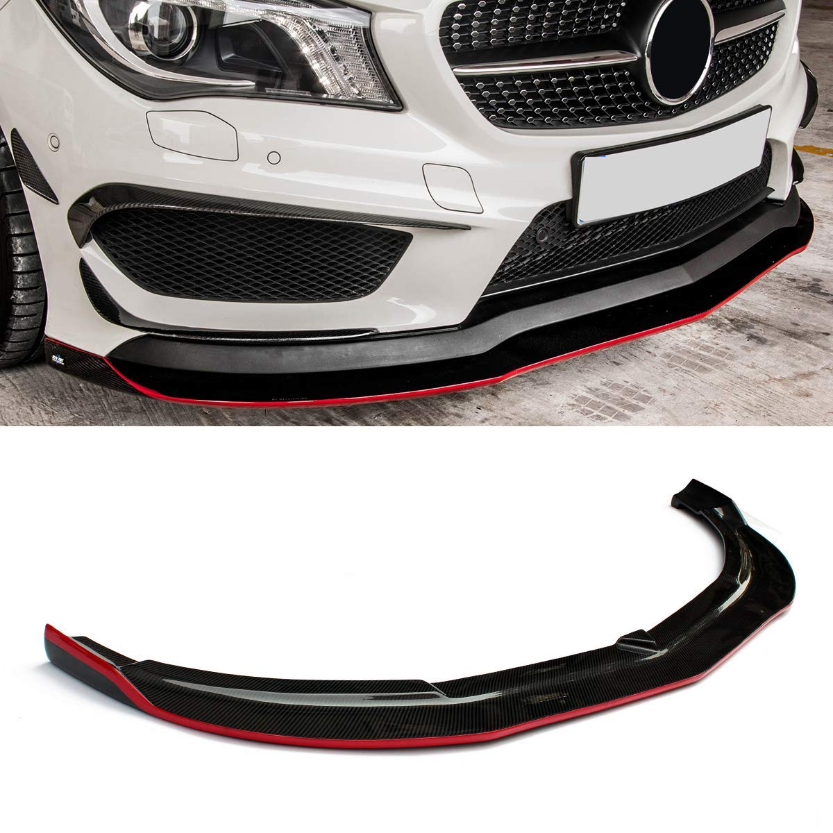 Carbon Fiber RZ Style Front Lip for Mercedes Benz CLA Class W117 Sport Edition /& CLA45 2013-2015 Fandixin W117 Front Lip
