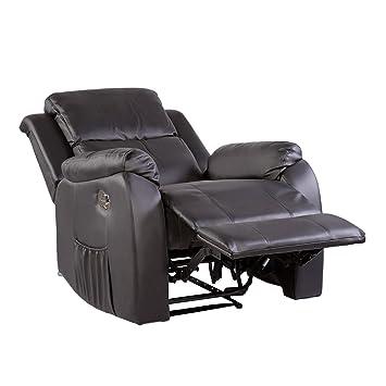 Fernsehsessel mit Massage, Heizung und Liegefunktion Kunstleder schwarz