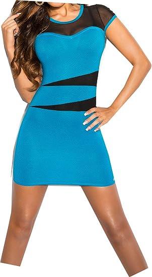 601915dcf8a Robe Courte Turquoise Dos Voile Noir Transparent Sexy Femme  Amazon ...