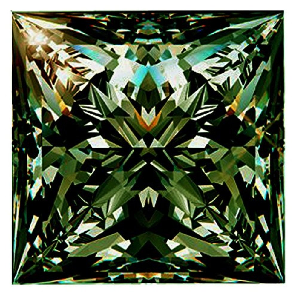 RINGJEWEL 1.87 ct VVS1 Loose Moissanite Princess Cut Use 4 Pendant/Ring Blueish Green Color Stone