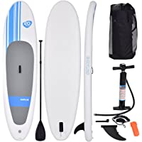 COSTWAY 10FT Inflatable Surfing Board | Telescopic Paddle, Stand Up Paddle Board, Soft SUP, 305 x 76 x 15 cm, Including Carry Bag, Safety Leash, Air Pump and Repair Kit