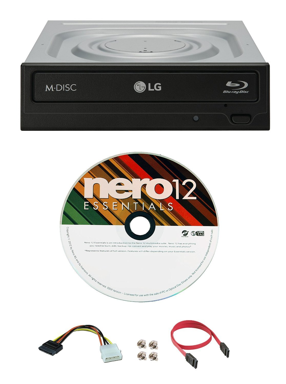 LG WH16NS40 16X Blu-ray BDXL DVD CD Internal Burner Drive Bundle with Free Nero Burning Software + SATA Cable + Mounting Screws