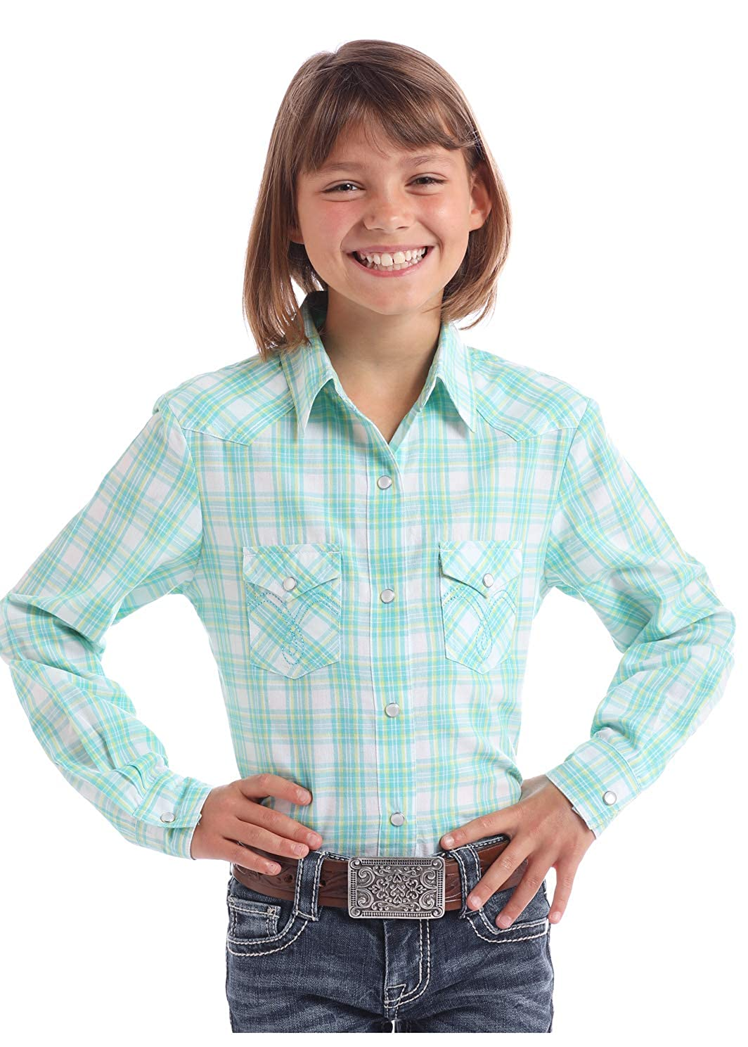 Panhandle Girls Med Plaid Long Sleeve Western Shirt Turquoise X-Large