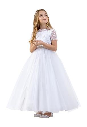 649512e03 Girls Holy Communion Flower Girl Dress Tulle Skirt Satin Bodice CD-13 White