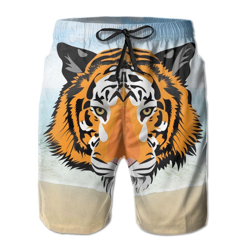 YOIGNG Boardshorts Crying Tiger Mens Quick Dry Swim Trunks Beach Shorts