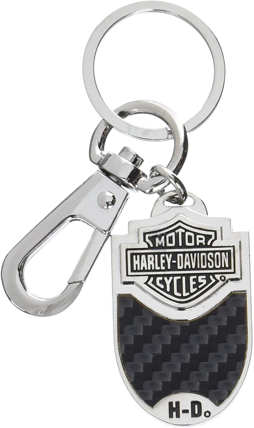 Harley-Davidson Bar & Shield Carbon Fiber Vinyl Inlay Key Chain
