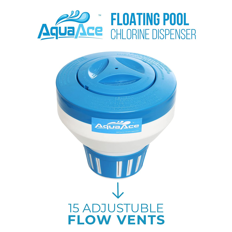 aquaace flotante Piscina dispensador cloro, Premium Floater diseño clásico, química soporte para cloro tabletas hasta 3,
