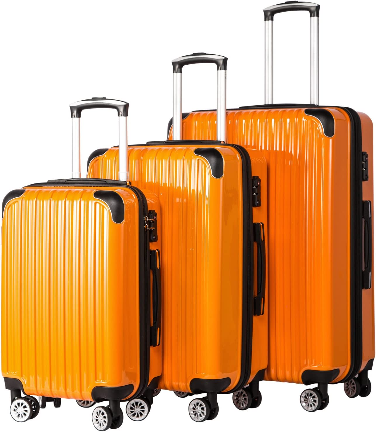 Coolife Luggage Expandable 3 Piece Sets PC+ABS Spinner Suitcase 20 inch 24 inch 28 inch (orange)