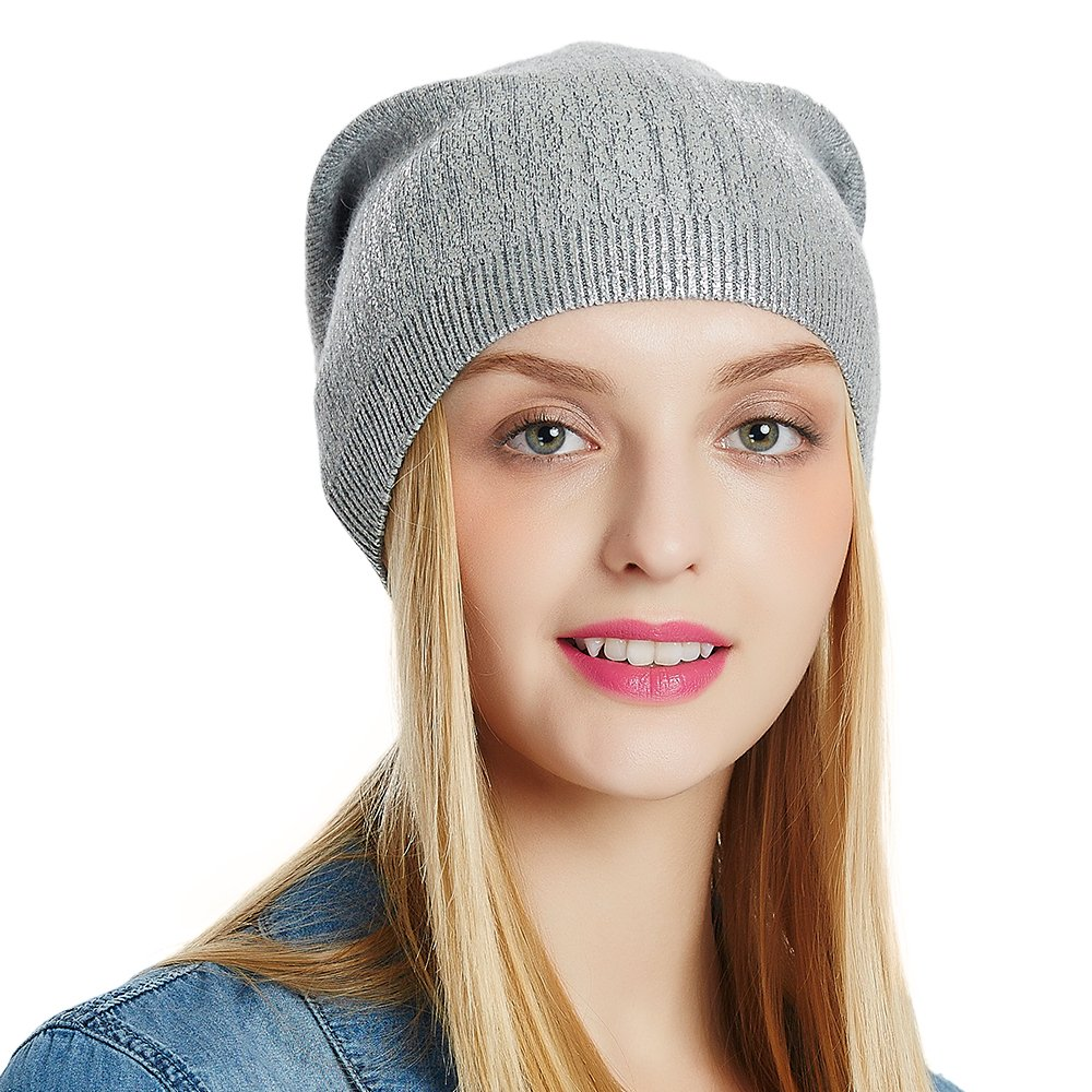 667e6c4dbee ENJOYFUR Beanies Hats Slouchy Warm Soft Knitted Winter Beanies Hat Skull  Cap Wool Beanie for Women Girls Ladies  Light Grey  at Amazon Women s  Clothing ...