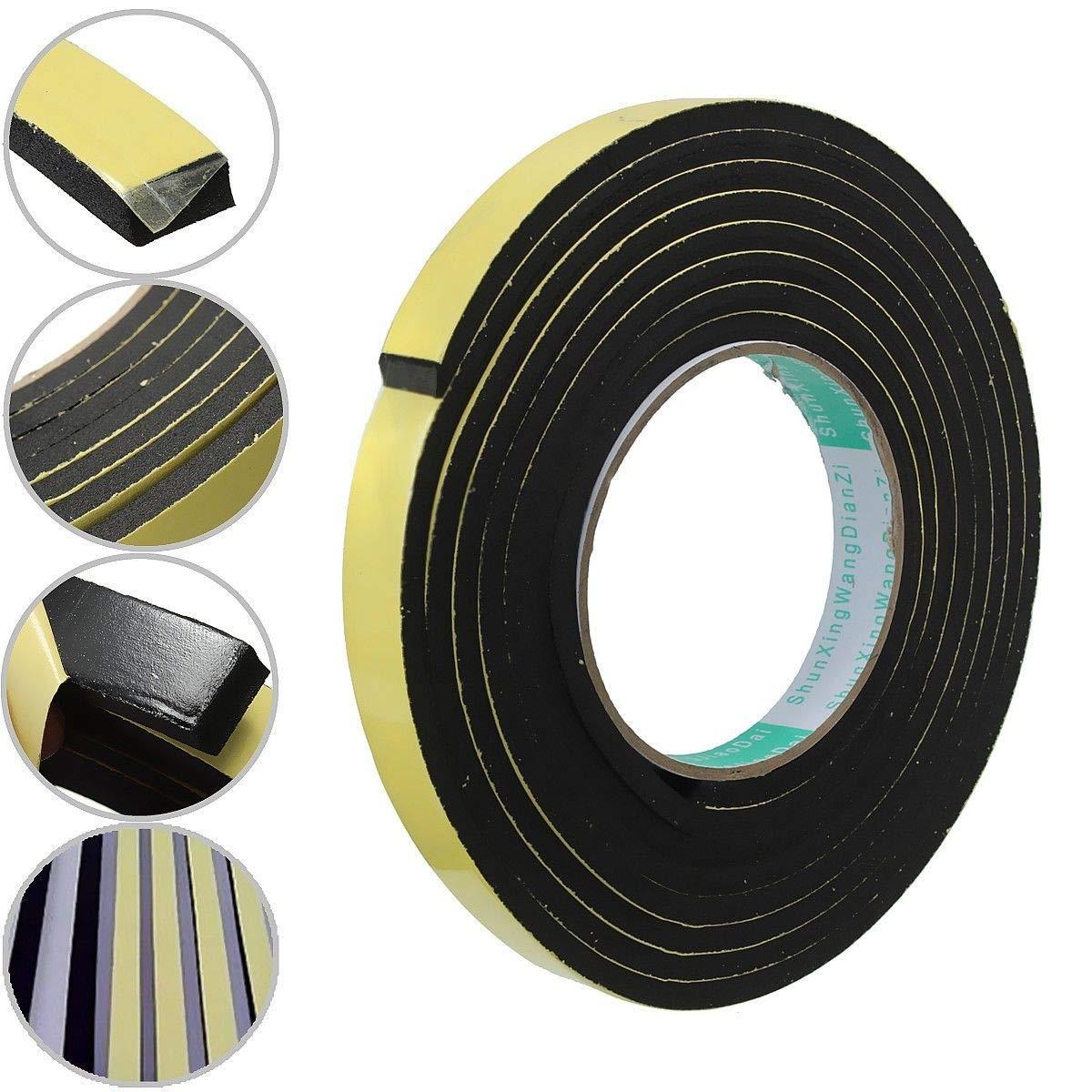 f/ür T/ür- und Fenster-Isolierung wasserfest 50 mm schwarz Schaumstoffband von Senrise B x 3 mm 12 mm hochdichter Schaumstoff L T x 5 m einseitiges Schaumstoffband