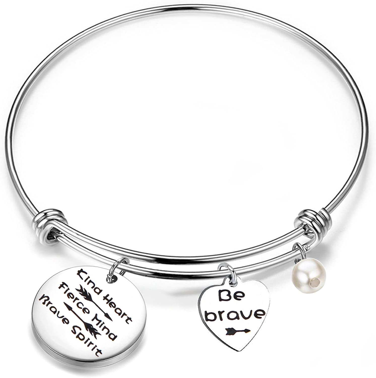 Stainless Steel Jewelry Be Fierce Engraved Expandable Wire Bangle Bracelet Medium Size