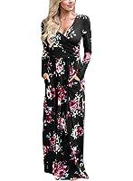 Lovezesent Women's Floral Print V Neck Long Sleeve Maxi Casual Dress