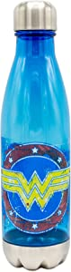 Silver Buffalo DC Comics Wonder Woman Splatter Paint Logo Plastic Curved Water Bottle, 20 oz, Multicolor