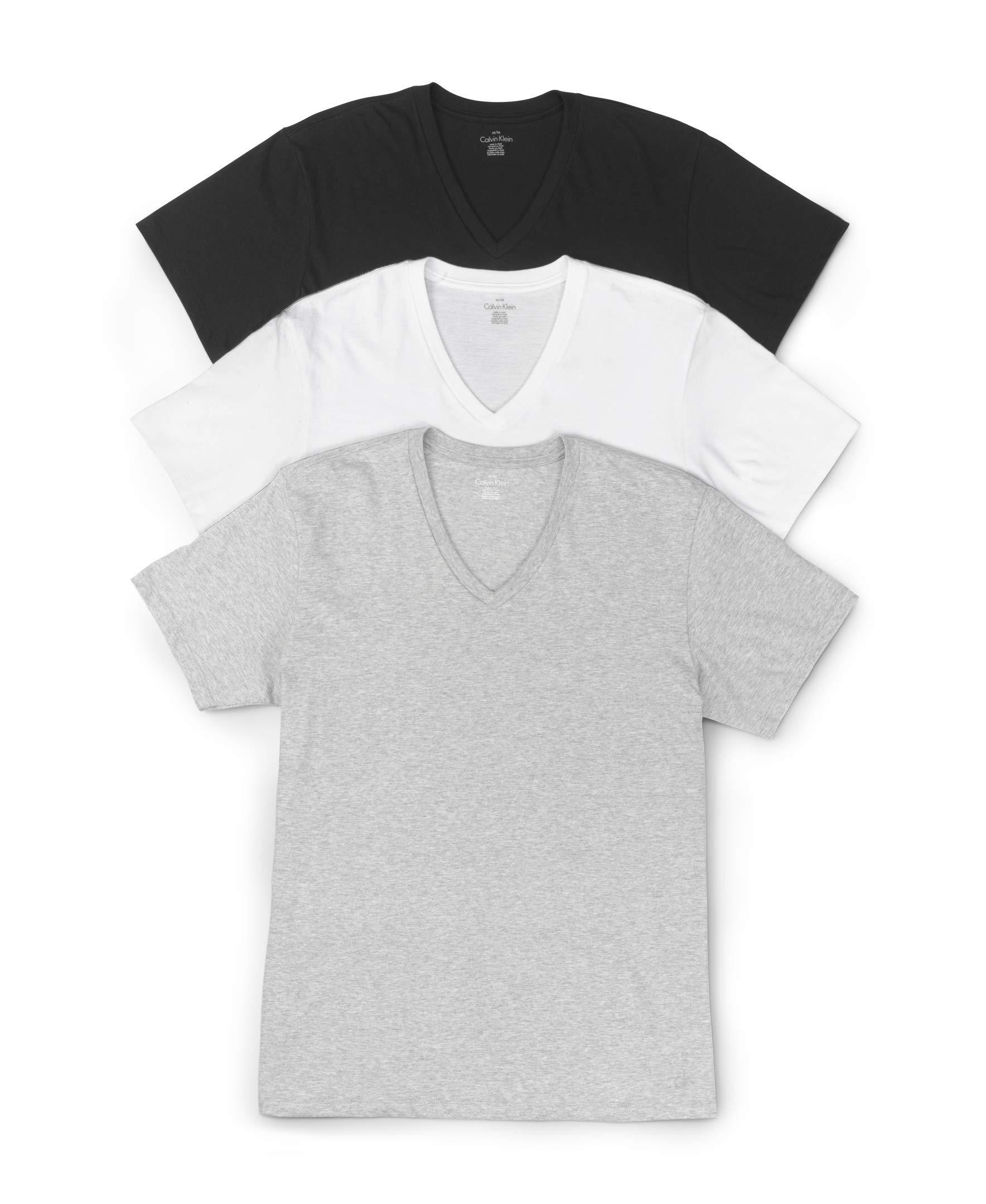 Calvin Klein Men's 3-Pack Cotton Classic Short Sleeve V-Neck T-Shirt, Multi, Medium
