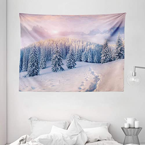 Ambesonne Mountain Tapestry, Idyllic Winter Morning in Woodland Rising Sun Pine Trees Forest Snowy Foggy, Wide Wall Hanging for Bedroom Living Room Dorm, 80 X 60 , Pink White
